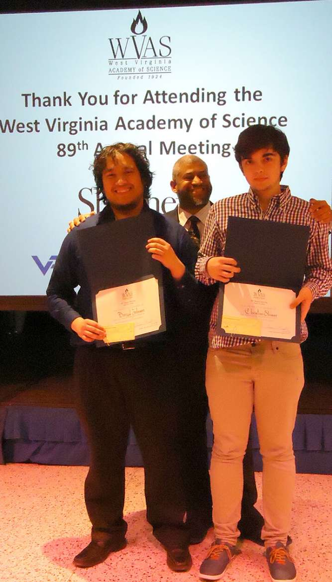 Darryl Johnson (l) and Christian Shimer (r) were recognized for Best Undergraduate Poster Presentation at the 89th Annual Meeting of the West Virginia Academy of Science.
