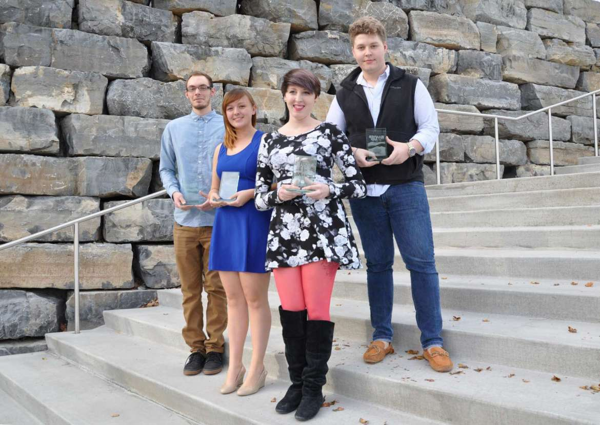 The winners of the AIGA Blue Ridge Mock Up: Student Design Challenge were (left to right) Evan Carr, Samantha Jones, Haley Shapiro, and Chase Bachtell.