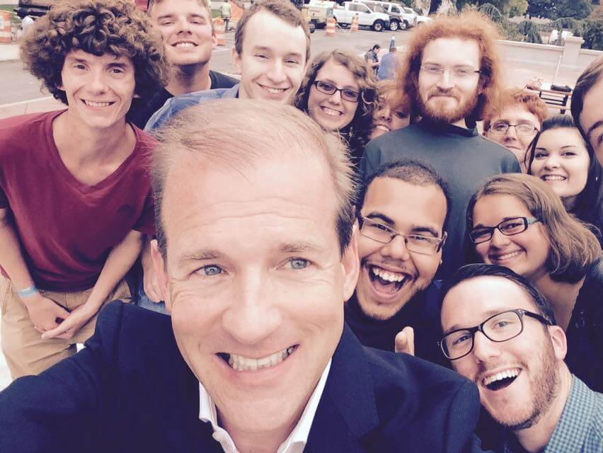 Dr. Scott Beard took a selfie with students in front of the Library of Congress in Washington, D.C.