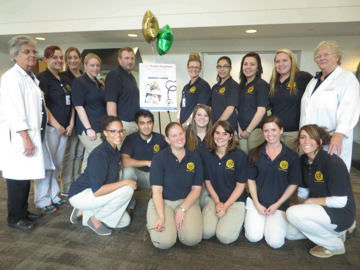 Students from Shepherd University's Department of Nursing Education volunteered to participate in the Come Explore Nursing and Health event at Winchester Medical Center on October 18. They are shown here with Dr. Genie Johnson, clinical nurse eductator, (left) and Dr. Charlotte Anderson, nursing professor emerita, (right).