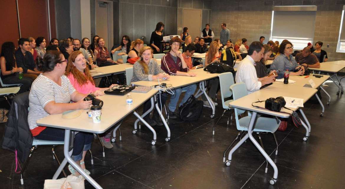 Students from Shepherd University, Frostburg State University, Hagerstown Community College, and Frederick Community College await the results for the fourth annual AIGA Blue Ridge Mock Up: Student Design Challenge that took place October 24 at Shepherd.