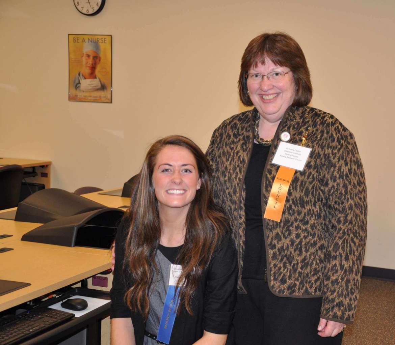 Nursing student Margaret Kenny (left) and Dr. Laura Clayton, professor of nursing