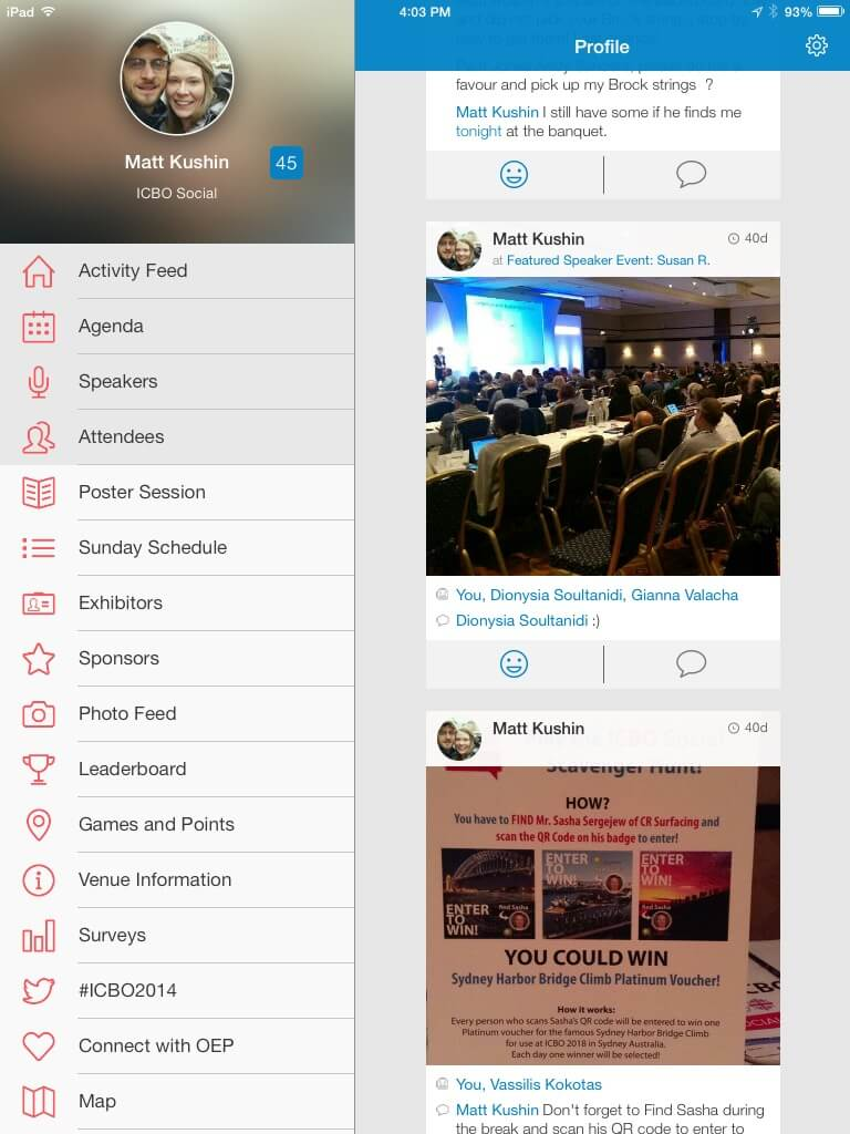 ICBO Social–an app was created for the conference, which allows individuals interacting with others and post pictures and comments.