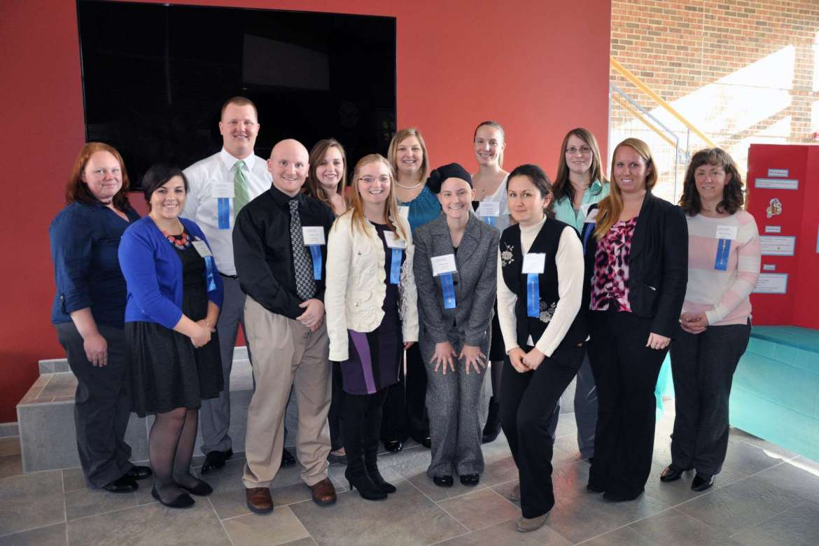 Winners of the 6th annual nursing research conference at Shepherd University are: (front row, left to right) Karalee Collage, Christopher Fogle, Cynthia Starner, Rebekah Swick, Andreia Hara, Kendra Miller, Roxann Rosendale. (back row, left to right) Crystal Propst, Clint Chiplinski, Katelyn Shaffer, Erica Miller, Jessica Quinn, and Kelly Hare.