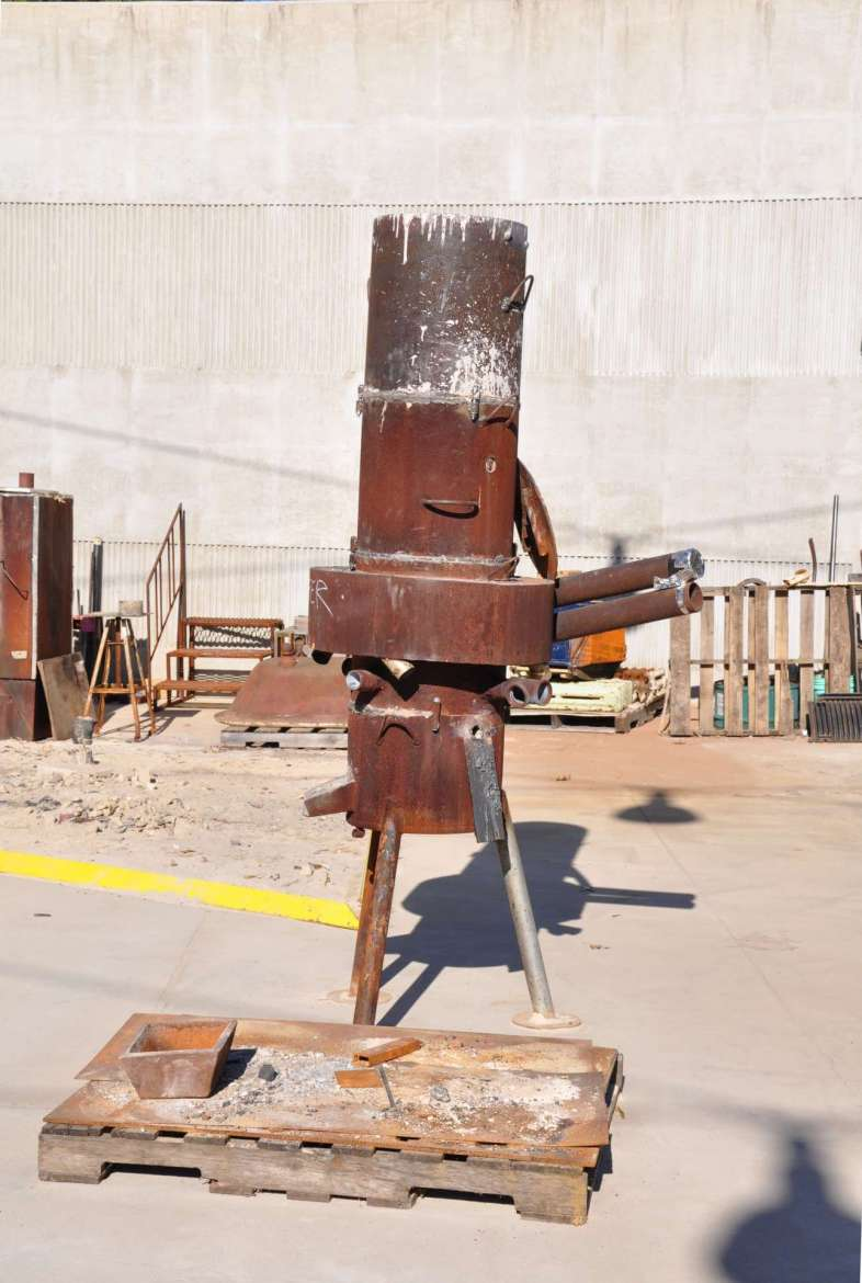 Furnace, where to melt metal during pours.