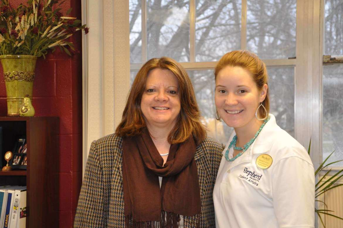 Holly Morgan Frye, assistant vice president of student affairs for student engagement, and Rachel Crum, community service and service learning coordinator.