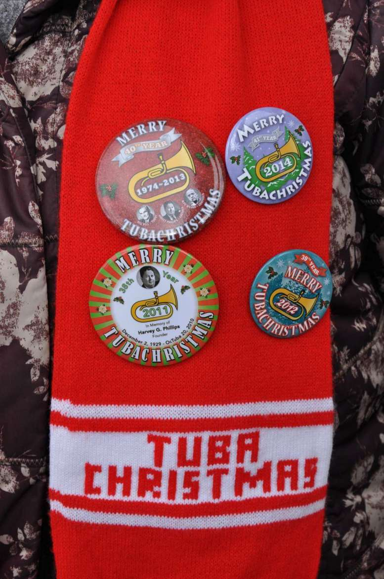 Up to 40 tuba and emphonium players are expected for the TubaChristmas concert and they'll each receive a commemorative button.