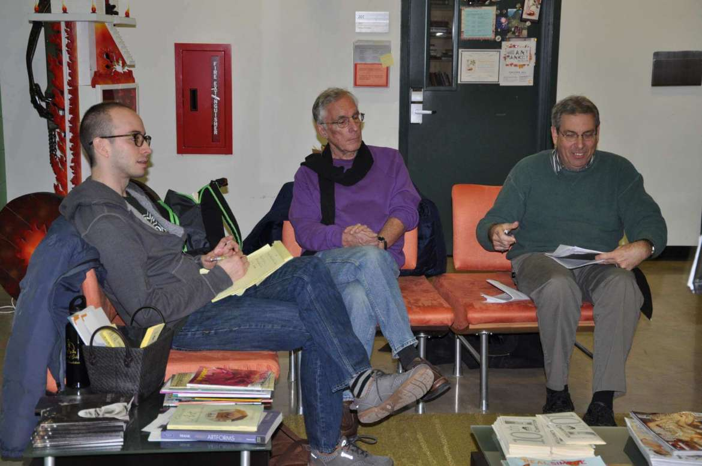 Adam Booth, adjunct professor of Appalachian studies, Phil Bufithis professor emeritus of English, work with WHAG-TV News Director Mark Kraham on the upcoming Rumsey Radio Hour.