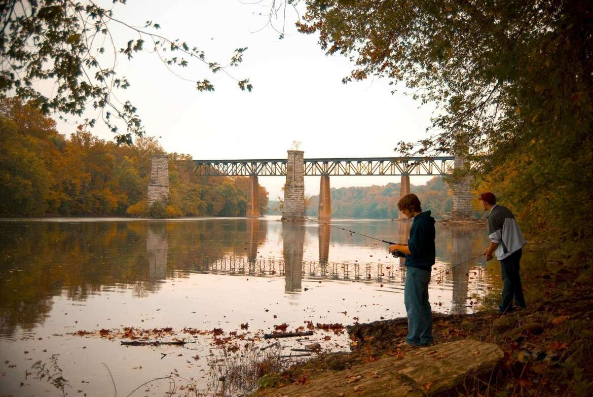 Fishing by the Potomac River, which is only a 10-minute walk from the campus.