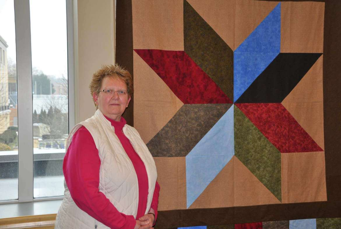 Rose Minnick of Hagerstown loaned quilts made by members of her family to the Scarborough Library for a display in the Reading Room. Minnick made this star pattern quilt.