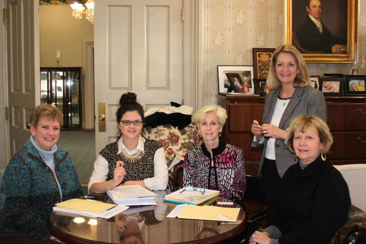 """WISH advisory committee members (from left) Carolyn Fleenor, Meg Peterson, Liz Oates, Monica Lingenfelter, and Bev Hughes meet to discuss plans for 2015 which include the awarding of grants, totaling $52,500, to a regional nonprofit organization and a Shepherd University learning program. (Not pictured: Mary """"Peachy"""" Staley)"""