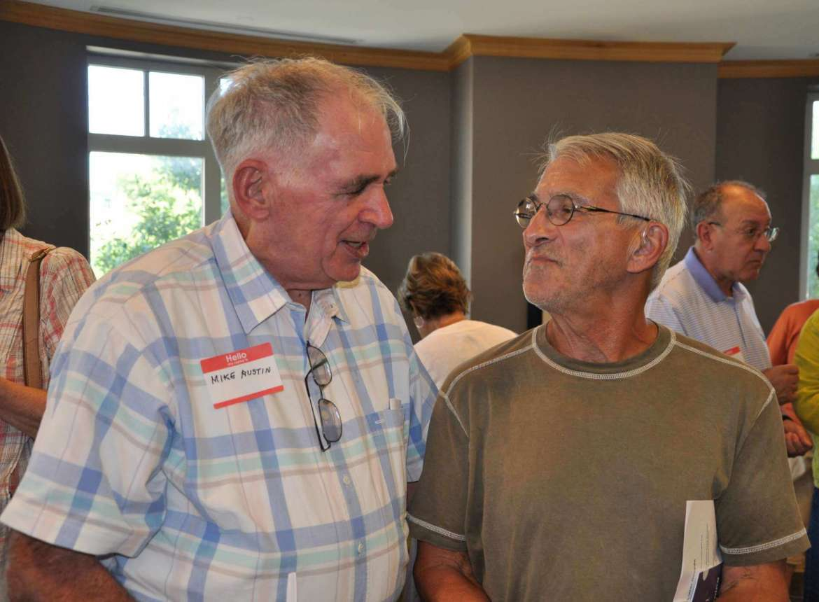 Lifelong learners Mike Austin and Art Wineburg lead the discussions in the Café Society Discussion Group, which meets every Tuesday, from 8:30-10 a.m. in the Student Center Rumsey Room.