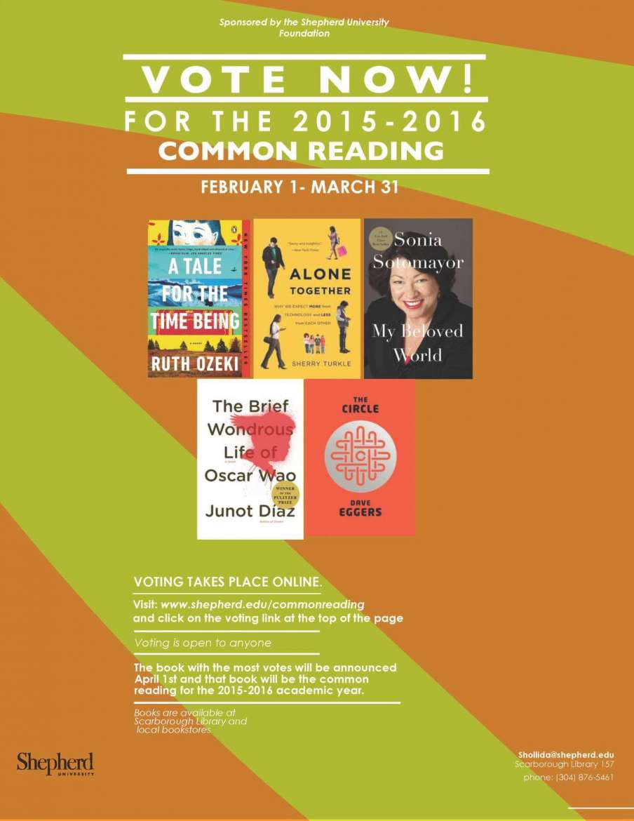 All five books under consideration for next year are available at the Scarborough Library, Shepherd Bookstore, and Four Seasons Books in Shepherdstown, which is offering a 15 percent discount for those mentioning the program. Anyone can place a vote by going online to http://www.shepherd.edu/commonreading/ and following the link at the top of the page. Each person may only vote once. The book receiving the most votes by March 31 will be the next Common Reading selection.