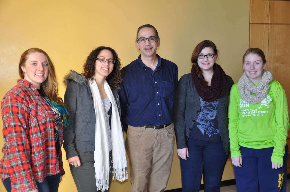 Members of the Shepherd Environmental Organization who are participating in this year's Recyclemania are (left to right) Kristen Hill, Trappe, Maryland; Yolandita Franklin, Camden, New Jersey; Dr. Peter Vila, assistant professor of environmental and physical sciences and SEO faculty coordinator; Serena Juarez, Shenandoah Junction; and Katelyn Amspacher, Red Lion, Pennsylvania.