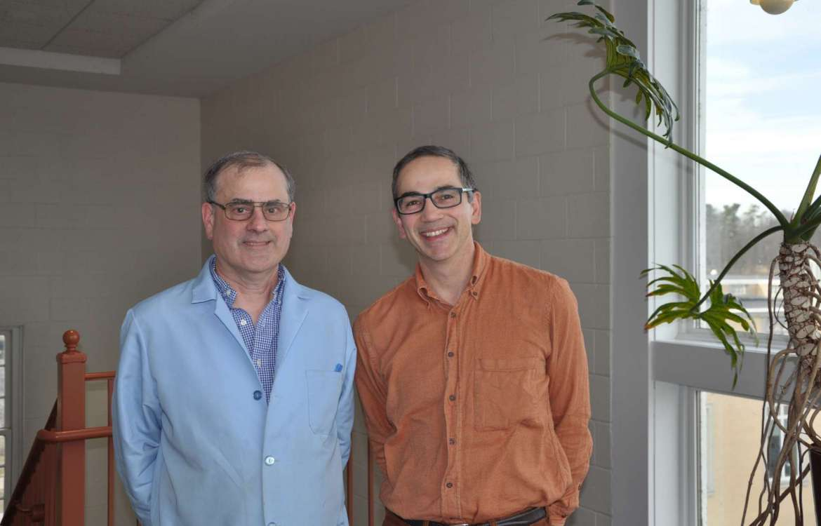 Dr. Dan DiLella (L), professor of chemistry and Department of Chemistry chair, and Dr. Peter Vila (R), assistant professor of environmental and physical sciences.