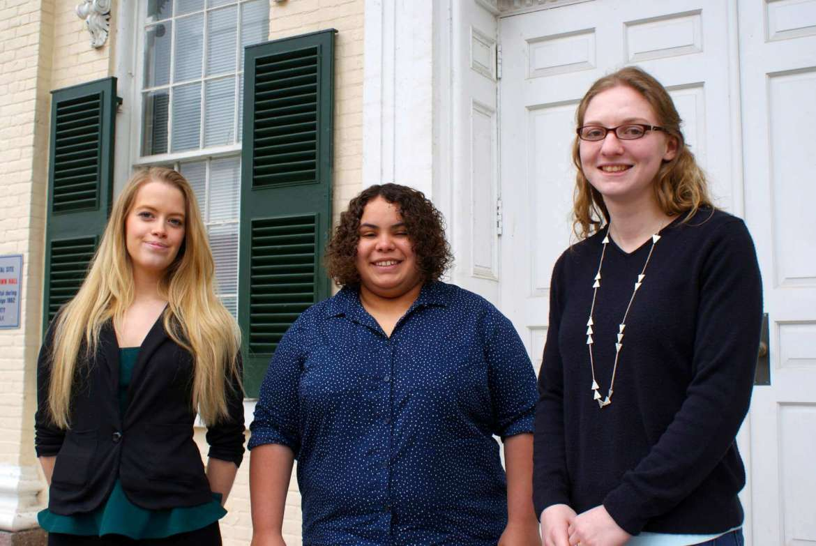 Desiree Rose (L), a freshman political science major from Hedgesville, Jocelyn Robinson (M), a junior psychology major from Charles Town, and Heather Uhlenhopp (R), a sophomore family and consumer sciences major from Charles Town.