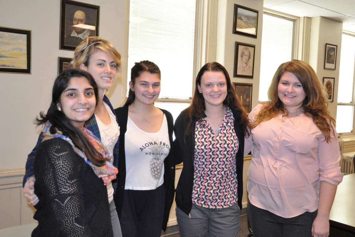Shepherd University students who will present at the West Virignia Literary Symposium April 11 in Fairmont are (left to right) Shelby Shajimon, of Huntington Valley, Pennsylvania; Molly Lovern, of Bluefield; Emily Spangler, from Huntington; Danielle Carder, of Ridgeley; and Katie Byron, from Shepherdstown. Not pictured is Rose Tribby, from Lovettsville, Virginia. Spangler will also present her paper at the Sigma Tau Delta National Conference in New Mexico in mid-March.
