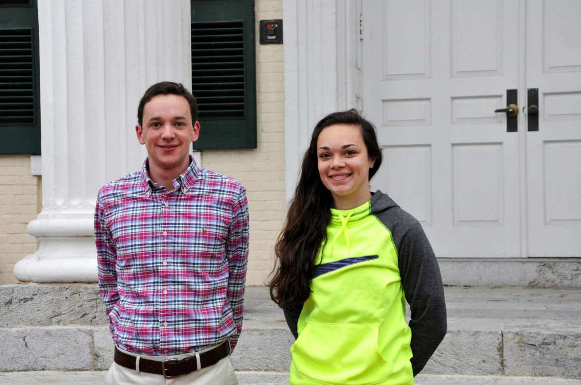 Graham Scott (L), a senior political science major from Buckhannon, and Victoria E. Key (R), a sophomore sociology major from Hagerstown.