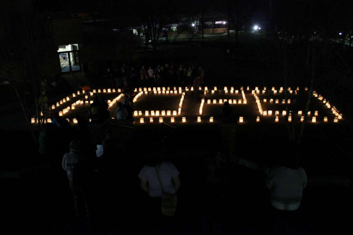 The luminaries lighting ceremony during last year's Shepherd University Relay for Life.