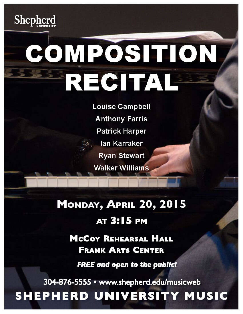The recital will highlight a variety of completed works and works in progress by six student composers: Louise Campbell, Frederick, Maryland; Anthony Farris, New Creek; Patrick Harper, Gaithersburg, Maryland; Ian Karraker, Boynton Beach, Florida; Ryan Stewart, Hagerstown, Maryland; and Walker Williams, Berkeley Springs.