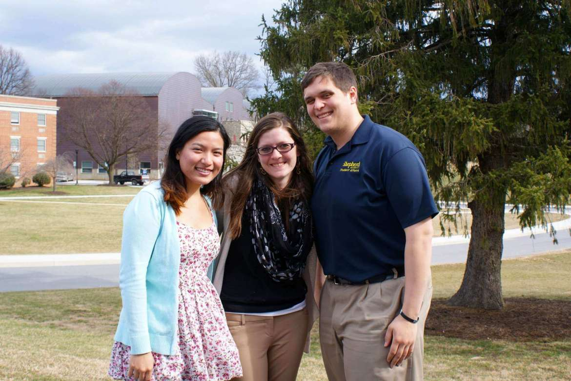 Shepherd University graduate students who won second place in a StudentAffairs.com exploring the problem of bullying on college campuses are (left to right) Hathiya Chia, Tim Maggio, and Ashley Dorsey.