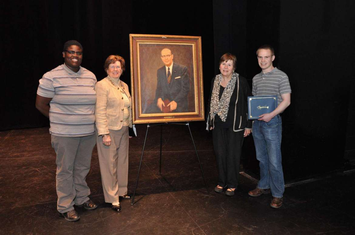 Two senior students received the Dr. Oliver S. Ikenberry Award.  Pictured (from left to right) are LaShawn Tolson an English major from Washington, D.C., Ikenberry's daughters Margaret Elizabeth (Betty) Wade '58  and Dr. Jane Ikenberry-Dorrier '65, and Thomas Jones, an environmental science major from Towson, Maryland.