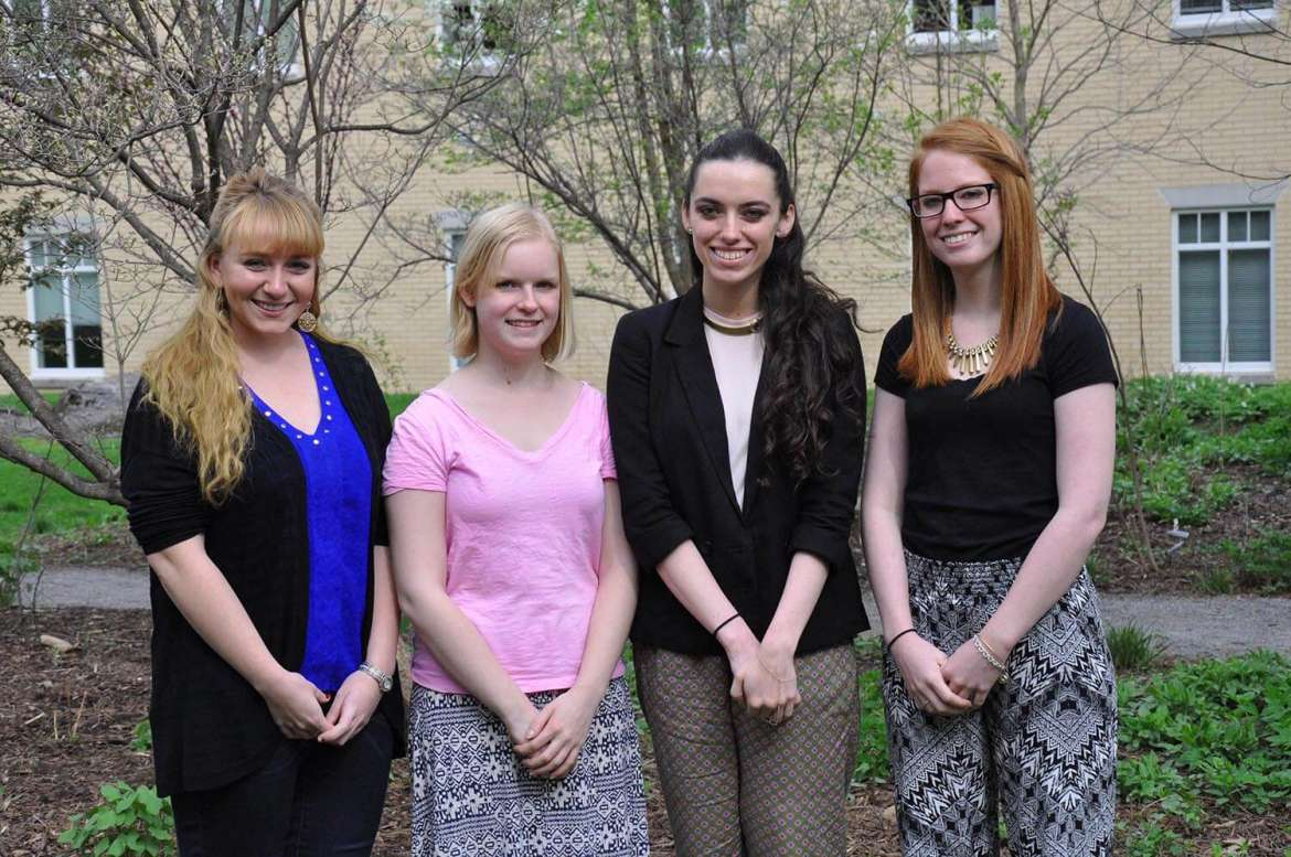 Shepherd University students who won an Honorable Delegation award during the Southern Regional Model United Nations competition in North Carolina April 9-11 include (left to right) Margaret Bock, Hedgesville; Alyson Hehr, Wheeling; Sydney Sharp, Shenandoah Junction; and Karen Paiz, Martinsburg. They represented the Republic of Botswana during the competition.