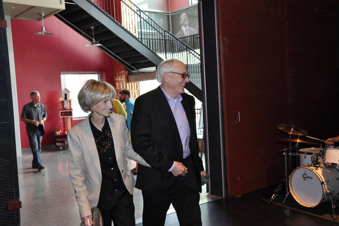 Dow Benedict, professor of art and dean of the School of Arts and Humanities, and his wife, Linda Braddock Benedict '81, arrive at the Marinoff Theater for a celebration  of the sculpture studio in the Center for Contemporary Arts being named in honor of Dean Benedict.