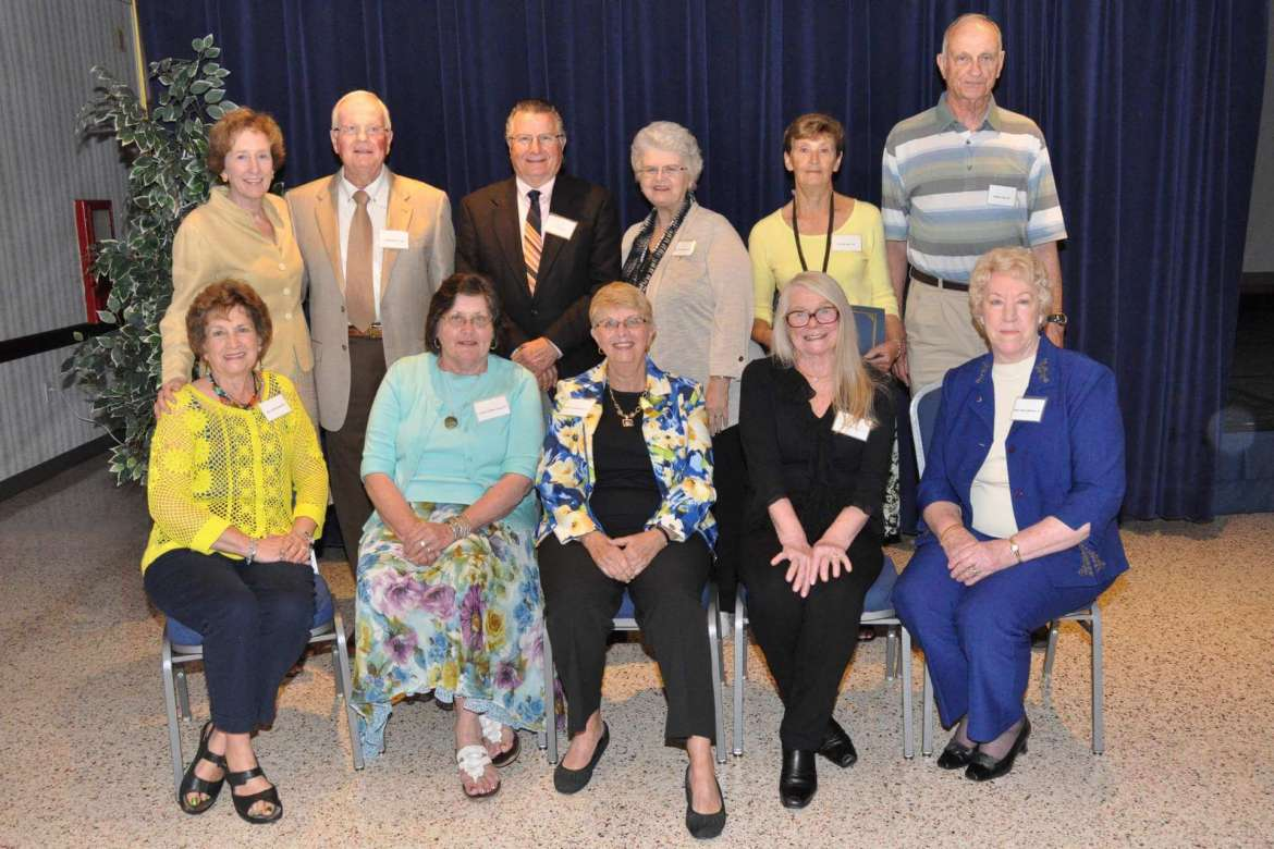 Inductees include (front row, left to right) Mary-Jane Jones Knode, Millersville, Maryland; Carolyn Griffin Cump, Hagerstown, Maryland; Lorraine Loudenslager Eccard, Boonsboro, Maryland; Isabel Druschel Danley, Fairfax Station, Virginia; and Helen Fisher Whitmer, Indiana, Pennsylvania; (back row, left to right) Dr. Suzanne Shipley, Shepherd University president; H. Max Derr Jr., Shepherdstown, West Virginia; Stanley Rote, Forest Hill, Maryland; Marsha Clark Plybon, Parkersburg, West Virginia; and Patricia Hine and William Hine, Blue Ridge Summit, Pennsylvania.