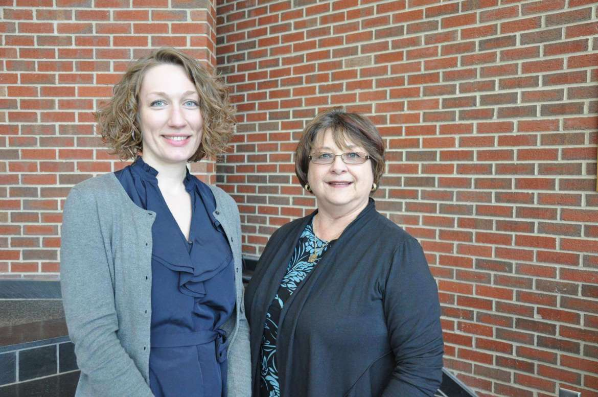Dr. Christy Wenger (left), assistant professor of English,  and Dr. Rebecca Mercado, associate professor of education, received a $54,245 grant from the West Virginia Higher Education Policy Commission that will allow them to work with Berkeley County elementary school teachers on a project designed to improve students' writing skills.