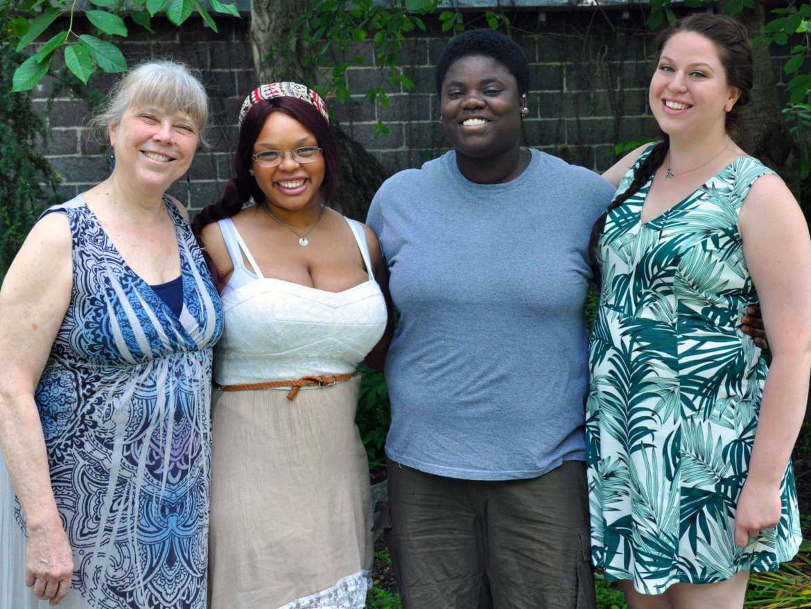 "Members of Shepherd University's Rude Mechanicals Medieval and Renaissance Players who presented the comedy ""Sapientia"" by Hrotsvitha during the annual Festival of Early Drama June 6 at the University of Toronto in Canada are (l. to r.) Dr. Betty Ellzey, Catherine Ellzey, LaShawn Tolson, and Caitlin Shambaugh."