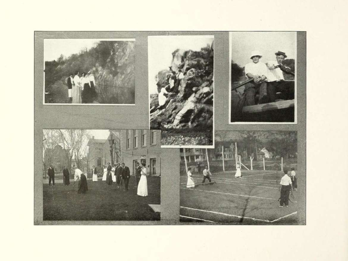 Students playing on old-time tennis courts with lines created from powdered lime, founded in Cohongoroota, 1914.