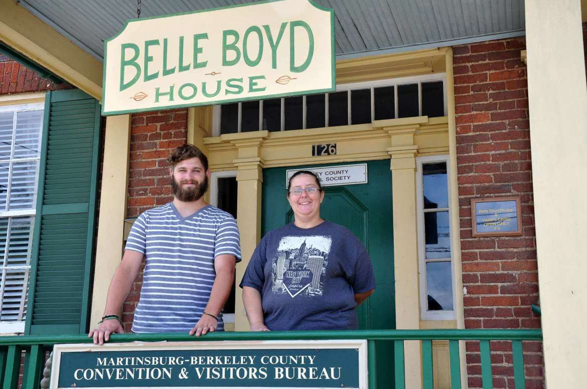 Shepherd University historic preservation/public history students Alex Shanholtzer of Martinsburg and Susan Crowell of Hagerstown, Maryland, put together an exhibit about Berkeley County during World Wars I and II at the Belle Boyd House in Martinsburg as part of their summer internship.