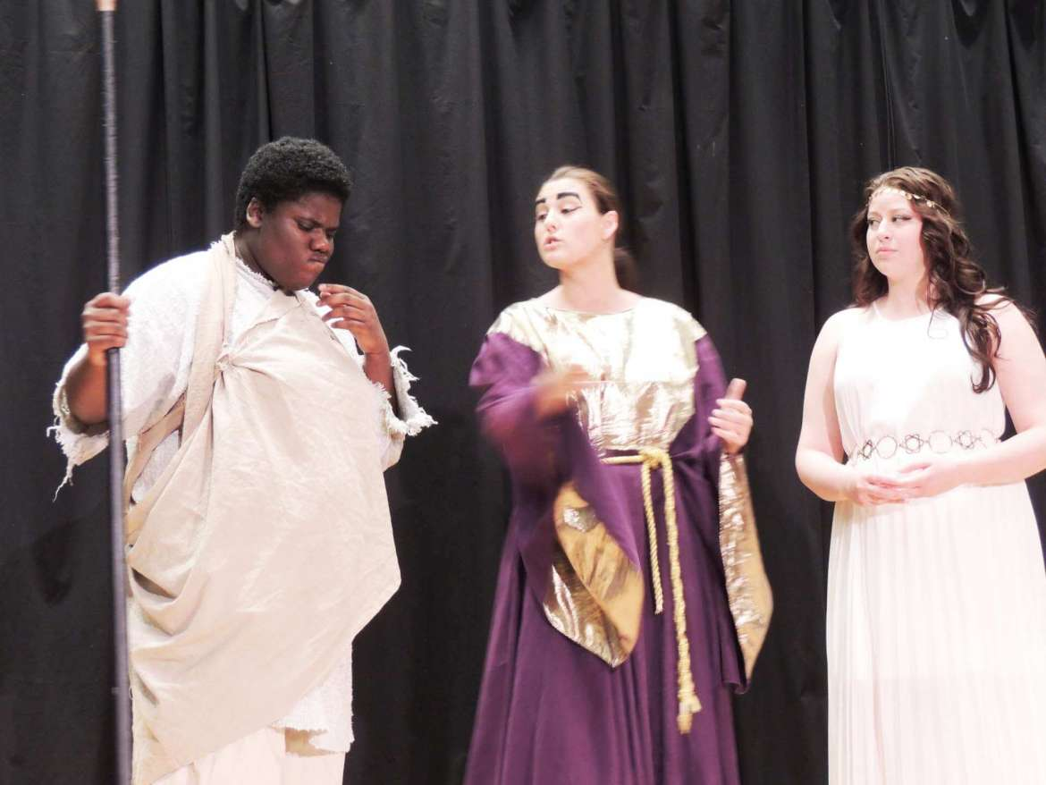 """Appearing in the Rude Mechanicals' performance of Euripides' """"Helen"""" are (l. to r.) LaShawn Tolson, as Menelaus, Shelby Taylor, as Theoclymenus, and Caitlin Shambaugh as Helen"""
