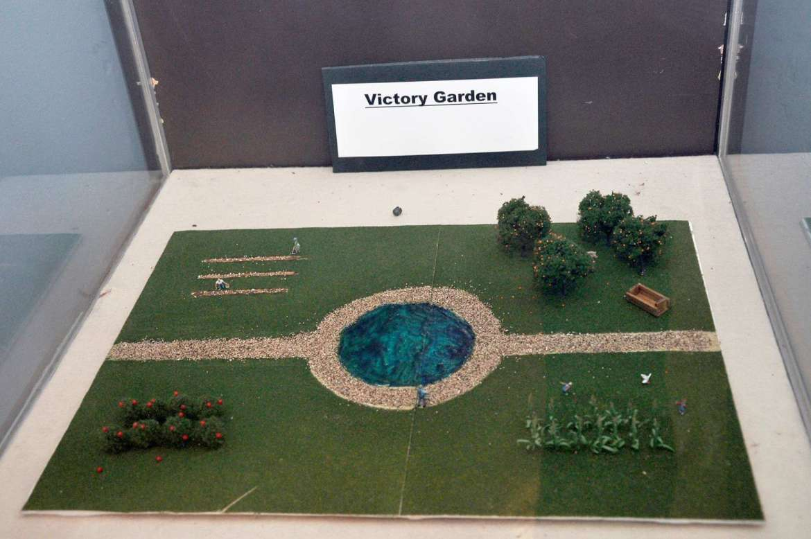 Part of their internship, Shanholtzer and Crowell created a diorama of a victory garden.