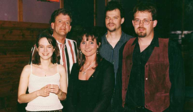 When she was in graduate school Renninger played keyboard in a country group, The Amy White Band, performing at venues across Indiana and Illinois. In this photo from 1998 Renninger (front left) is pictured with Ron Sporleader (bass), Amy White (vocals), Brian Elmore (percussion), Rod Evans (guitar).