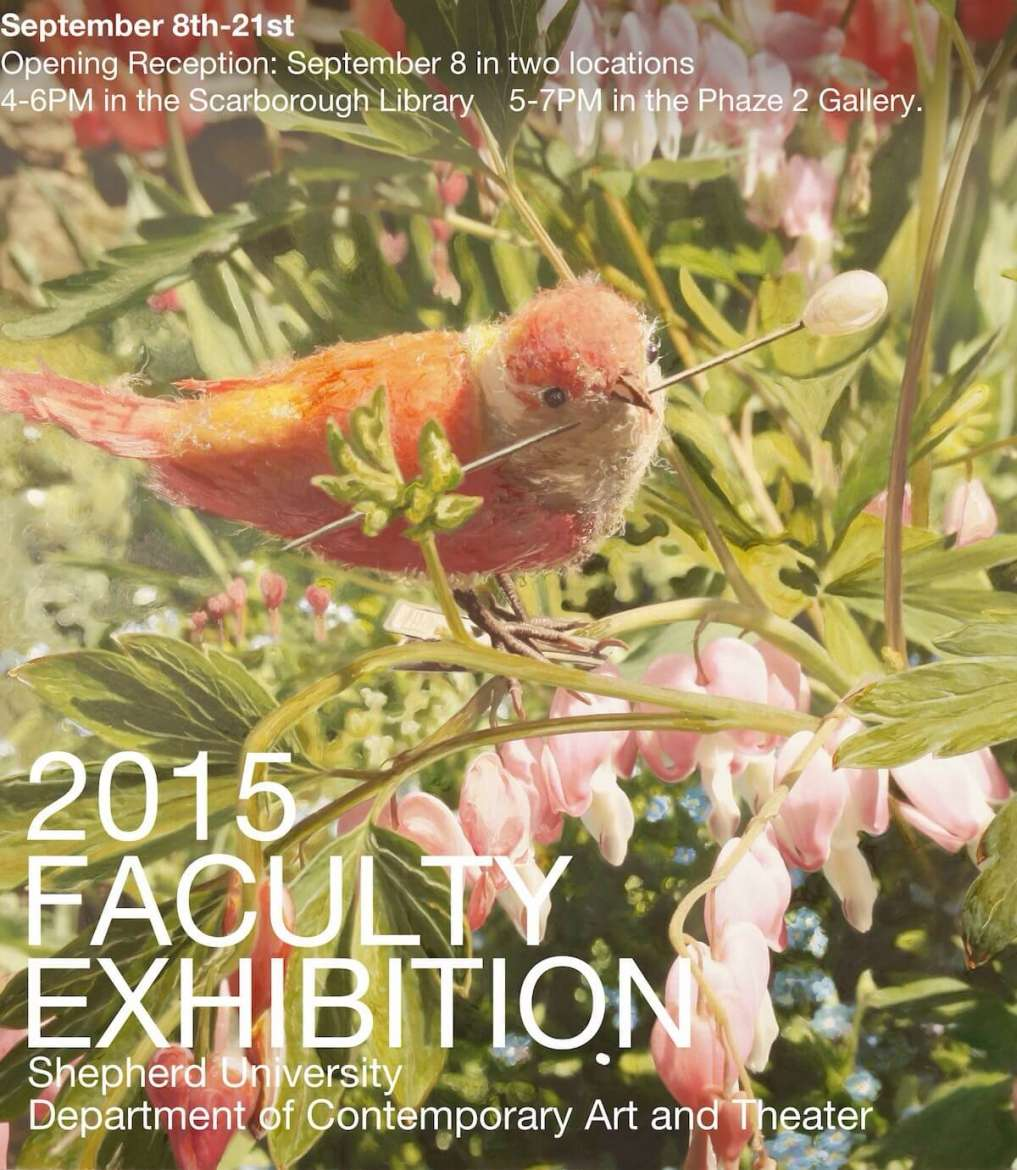 Shepherd University's annual Faculty Exhibition will take place September 8-21 in the Center for Contemporary Arts Phaze II Gallery and the Scarborough Library. An opening reception is planned for Tuesday, September 8, from 4-6 p.m. in the library and from 5-7 p.m. in the gallery. The exhibit and receptions are free and open to the public.