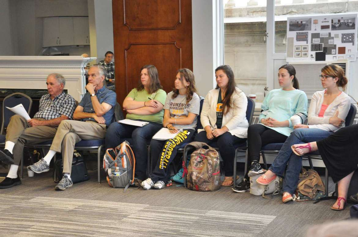 Students from Dr. John Splaine's  West Virginia and Appalachian history class attend a Café Society discussion about whether abolitionist John Brown, who led a raid on Harpers Ferry in 1859 in an attempt to free the slaves, was a murderer or a martyr.