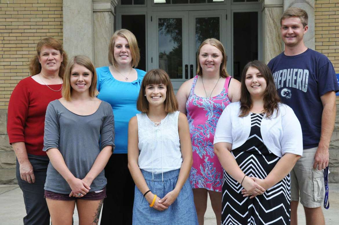 Members of the Shepherd University Delta Psi chapter of Kappa Delta Pi, the international honor society in education, who will attend the bienniel Convocation in Orlando, Florida October 22-24 are: Front row (left to right) Jordyn Marion, Myersville, Maryland; Mikaela Wesmiller, Gapland, Maryland; Sarah Kidwell, Keyser. Back row (left to right) Dr. LeAnn Johnson, assistant professor of education; Chelsea Wilson, Baker; Caroline Kirkpatrick, Martinsburg; and Bradley Davidson, Manchester, Maryland.