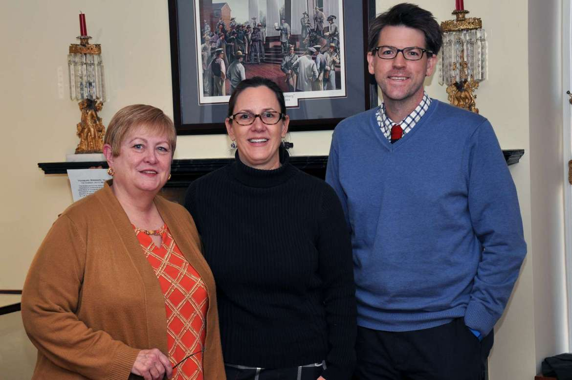 Organizers of this year's A Civil War Christmas in Shepherdstown are, from left, Marianne Davis, co-director of the Shepherdstown Visitors Center, Dr. Julia Sandy, associate professor of history, and Dr. Jim Broomall, director of the George Tyler Moore Center for the Study of the Civil War.