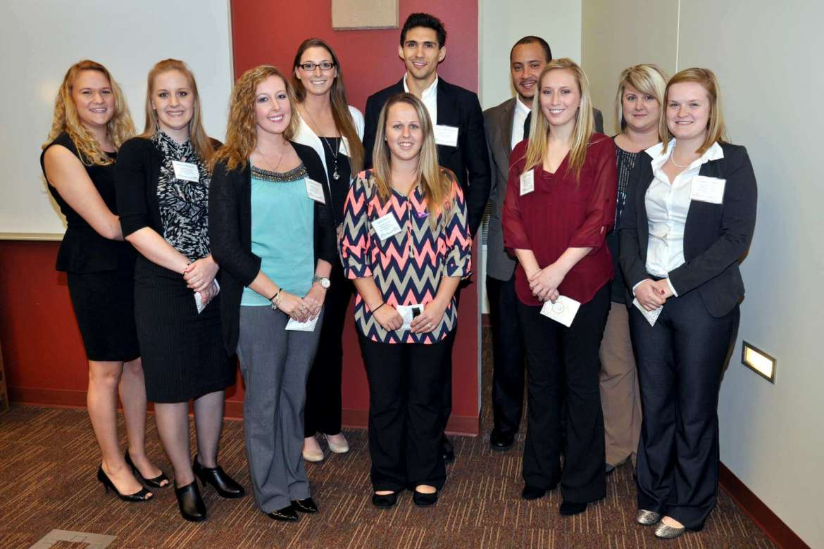 Ten students were honored for the poster displays they created during the annual Nursing Research Conference hosted November 5 by Shepherd University's Department of Nursing Education and the Martinsburg VA Medical Center Evidence-Based Research Council. They are (l. to r.) Katie Files, Hedgesville; Sabrina Mongold, Mathias; Emily Greenwalt, Old Fields; Kristen Juenger, Frederick, Maryland; Taylor Oates, Bunker Hill; Spencer Winchester, Harpers Ferry; Matthew Gainey, Martinsburg; Alyssa Woods-Oren, Petersburg; Misty Ends, Falling Waters; and Stephanie Santella, Charles Town.