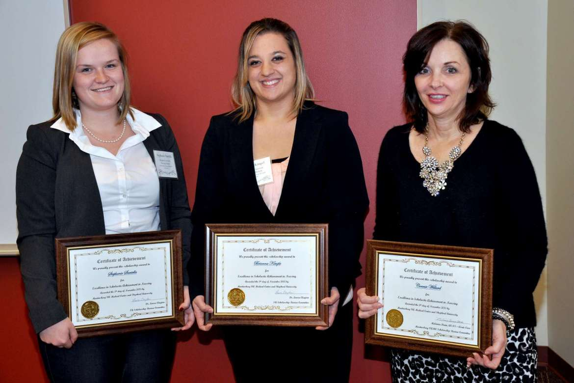 Three students received $300 scholarships during the annual Nursing Research Conference hosted November 5 by Shepherd University's Department of Nursing Education and the Martinsburg VA Medical Center Evidence-Based Research Council. They are (l. to r.) Stephanie Santella and Brianna Kimpel, both of Charles Town, and Connie Willard, Berkeley Springs.