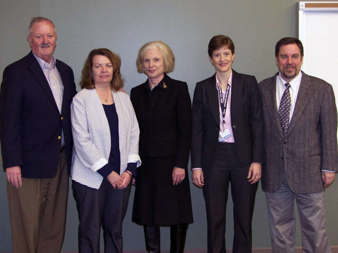 Those who attended the signing of two new articulation agreements between Shepherd University and Blue Ridge Community and Technical College are (l. to r.) Dr. Peter Checkovich, president of Blue Ridge CTC; Jackie Griggs, Blue Ridge academic program specialist; Dr. Sylvia Manning, interim president of Shepherd; Dr. Katherine Cox, Blue Ridge associate dean of humanities; and Dr. David Gordon, acting chair of Shepherd's history department.