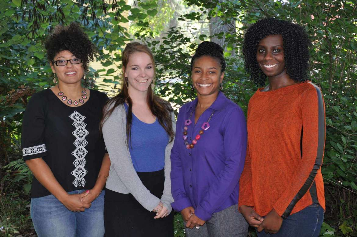 Three Shepherd University students will make a presentation at the East Coast Colleges Social Sciences Association annual meeting April 1, 2016 in Herndon, Virginia, on the findings from a multicultural education project that included a diversity workshop that took place on campus this fall. Pictured, from left, are Rachel Tysor, a nursing major from Martinsburg,Lisa Carden-Watson, a sociology major from Bunker Hill, Dr. Chiquita Howard-Bostic, chair of the Department of Sociology and Geography, who is guiding the students in their research, and Millicent Aubee, a nursing major from Silver Spring, Maryland.