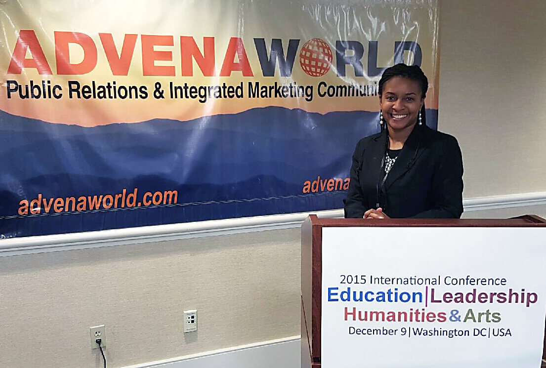 Dr. Chiquita Howard-Bostic, assistant professor of sociology and chair of the Department of Sociology and Geography, was the keynote speaker at the December 9 Advena World International Conference in Washington, D.C.