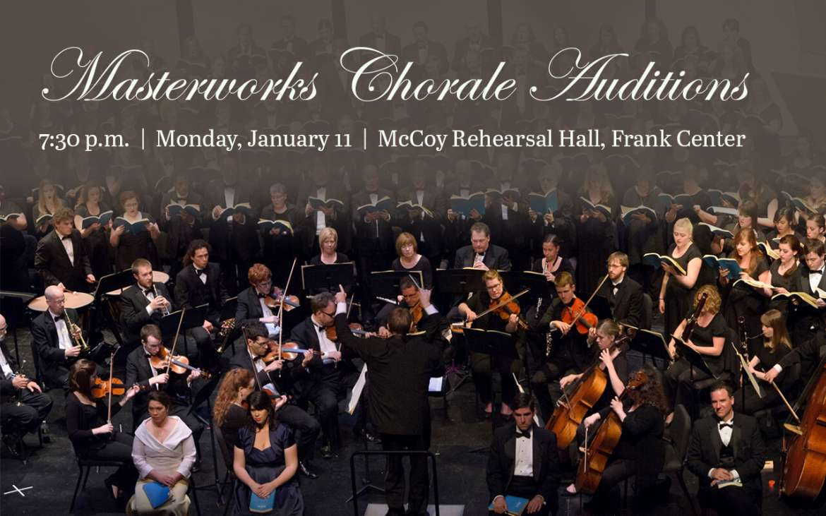 Shepherd University's Masterworks Chorale, under the direction of Rachel Carlson, will hold auditions on Monday, January 11, 2016 at 7:30 p.m. in the Frank Center's McCoy Rehearsal Hall. Auditions will consist of vocal exercises, and singers are not required to prepare a piece in advance.
