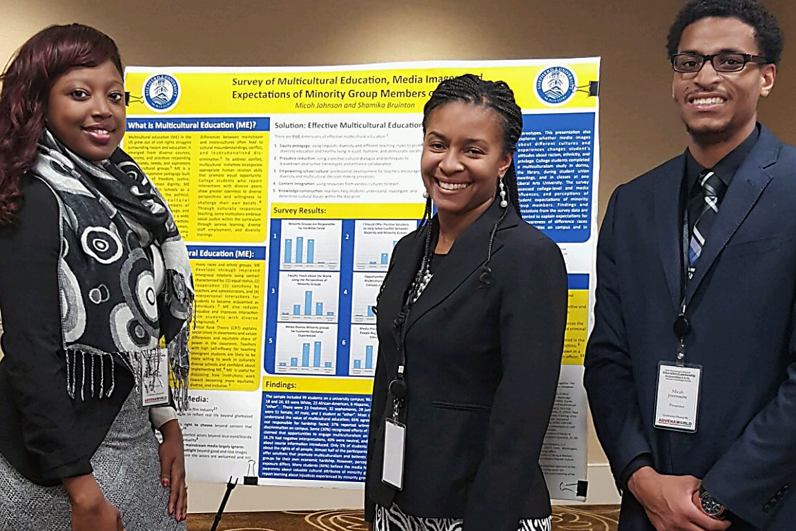 A Shepherd University professor and two students traveled to Washington, D.C., on December 9 to present research at the Advena World International Conference. (from left) Shamika Bruinton, a sociology major from Woodbridge, Virginia, Dr. Chiquita Howard-Bostic, assistant professor of sociology and chair of the Department of Sociology and Geography, and Micah Johnson, a college student development and administration master's major from Austin, Texas.