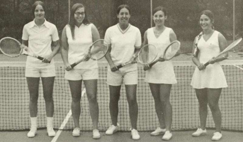 Dr. Mary J.C. Hendrix (pictured far right) on the 1973 Shepherd Rams tennis team