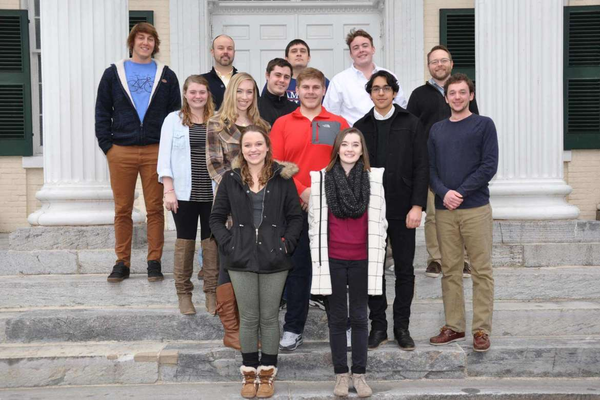 The Shepherd University Debate Team includes (front row, from left) Kira Northrop, Brooke Poling (second row) Charlotte Belotte, Jamin Branch, David Bennett, Graham Scott (third row) Jennifer Dickey, Mike Morris (back row) Noah Moody, Dr. Joe Robbins, faculty advisor and associate professor of political science, Hunter Cutlip, Lance Wines, Dr. Jacob Stump, faculty advisor and assistant professor of political science. Not pictured is Jessica Fort.