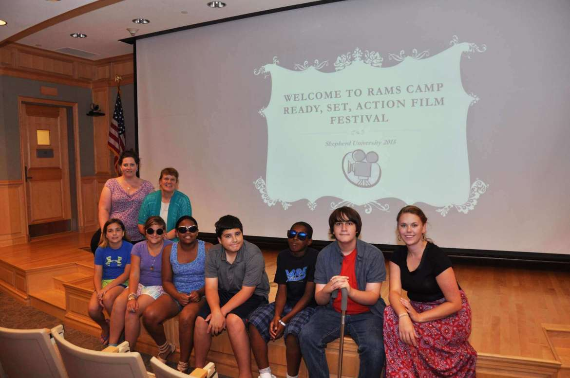 Campers in the Ram Scholars Ready, Set, Action camp are prepared for the premiere of their films.